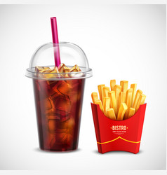 French fries and coca cola vector