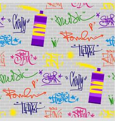 Graffiti street art wall grunge color font vector