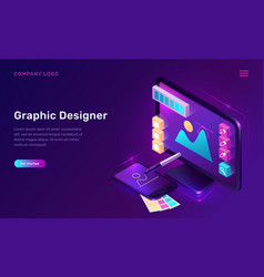 Graphic designer isometric landing page banner vector