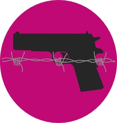 Gun Control Gun with Barbed Wire vector image
