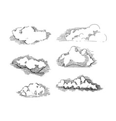 Hand drawn vintage engraved clouds set vector