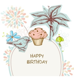 Happy birthday card cupcake bird and flowers vector image