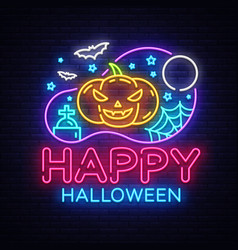happy halloween party design template vector image