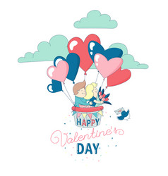 happy valentines day card boy girl couple flying vector image