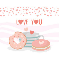 Happy valentines day coffee cup cookie and donut vector