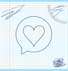 heart in speech bubble line sketch icon isolated vector image