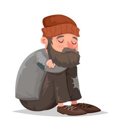 Homeless bum poor male depressed character vector