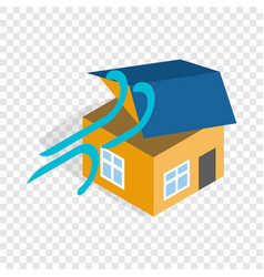 hurricane destroyed house isometric icon vector image