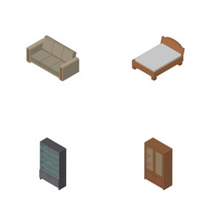 Isometric design set of bedstead couch cabinet vector
