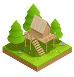 Isometric wooden house in forest on the vector