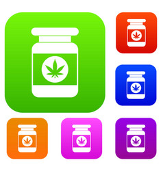 jar of powder marijuana set collection vector image