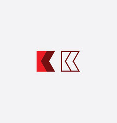 k logo sign red element symbol vector image