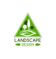 Landscape design badge with green tree and leaf vector