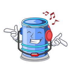 Listening music cylinder bucket with handle on vector