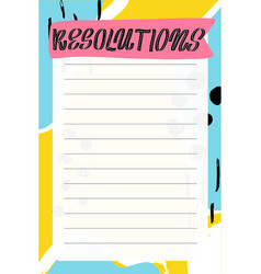 Memphis style template for agenda planners vector