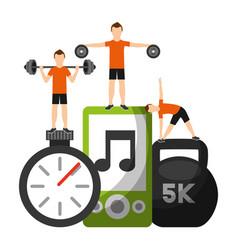 men sporty fitness barbell dumbbell chronomete vector image