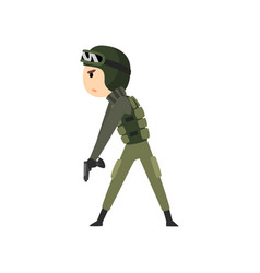 Military man ready to fight soldier character in vector