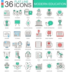 Modern education color flat line outline vector image