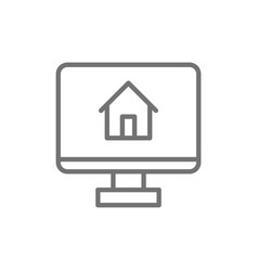 Monitor with house app for real estate line icon vector