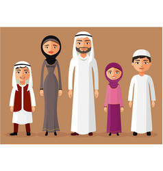Muslim family standing cartoon vector