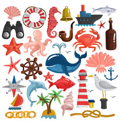 Nautical elements and sea life set vector