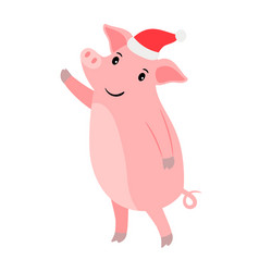 new year pig in santa hat vector image