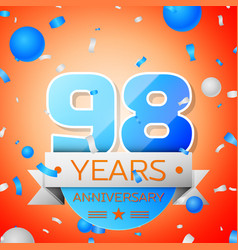 Ninety eight years anniversary celebration vector