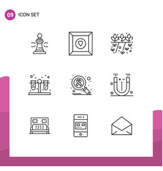 Pack 9 modern outlines signs and symbols vector
