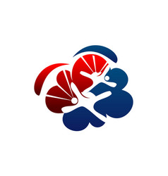 Parachutist logo design template vector