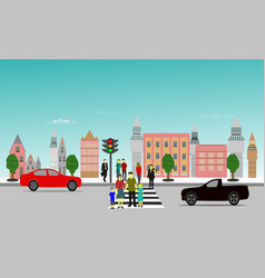 people crossing the crosswalk building background vector image