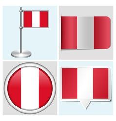 Peru flag - sticker button label flagstaff vector image