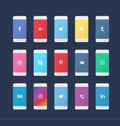 phone with social media logos vector image