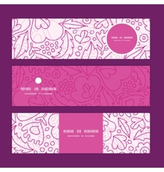 Pink flowers lineart horizontal banners set vector