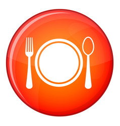 place setting with platespoon and fork icon flat vector image