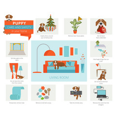 Puppy care and safety in your home living room vector