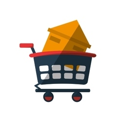 real estate house shop cart shadow vector image