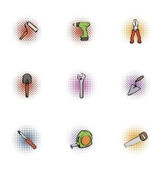 Repair icons set pop-art style vector