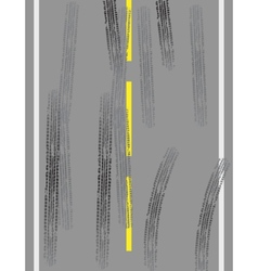 Road with tire tracks vector