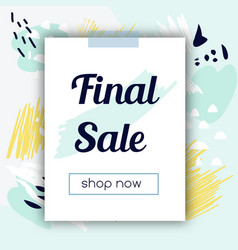 sale banner with fashionable hand drawn style vector image vector image