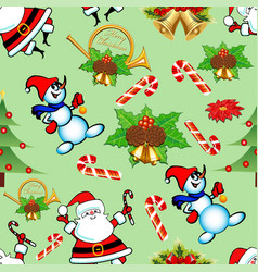 seamless pattern with christmas trees bells vector image