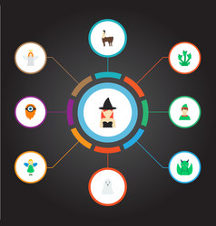 Set of fantasy icons flat style symbols with witch vector