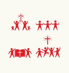 set of people believing in jesus christ vector image