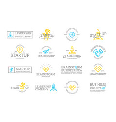 set of retro vintage startup and business logo or vector image