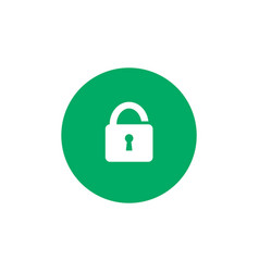 simple lock icon on green circle background vector image vector image
