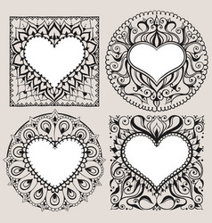 Sketch of frames with hearts in henna style vector