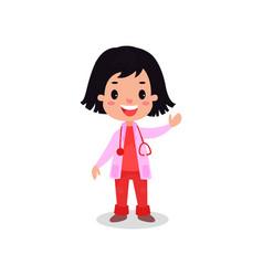 Smiling brunette girl doctor in professional vector