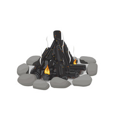 Smoldering bonfire lined with stones on white vector