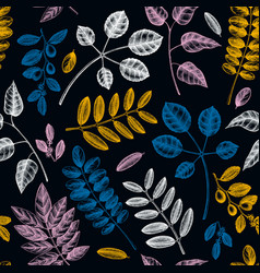 spring greenery seamless pattern hand drawn tree vector image