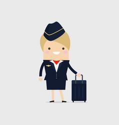 stewardess holding suitcase vector image