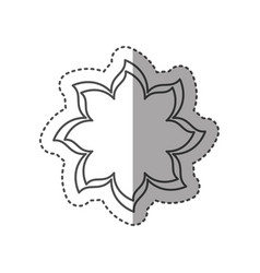 Sticker black contour with flower icon vector